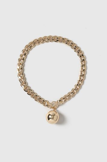 Chain Ball Necklace - predominant colour: gold; occasions: casual, creative work; length: short; size: large/oversized; material: chain/metal; finish: metallic; style: chain (no pendant); season: a/w 2016; wardrobe: highlight