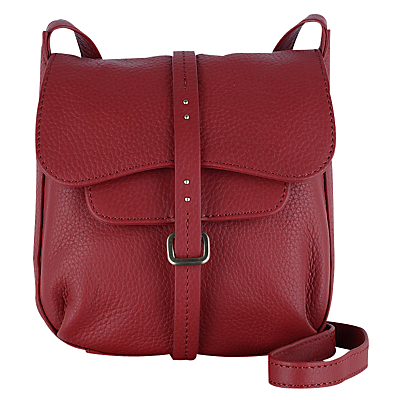 Grosvenor Small Leather Across Body Bag - occasions: casual, creative work; type of pattern: standard; style: rucksack; length: across body/long; size: standard; material: leather; pattern: plain; finish: plain; predominant colour: raspberry; season: s/s 2016; wardrobe: highlight
