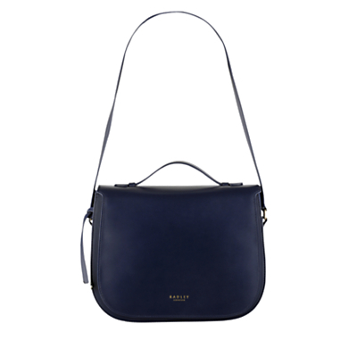 Hamilton Leather Medium Shoulder Bag - predominant colour: navy; occasions: casual, creative work; type of pattern: standard; style: shoulder; length: shoulder (tucks under arm); size: standard; material: leather; pattern: plain; finish: plain; season: a/w 2016
