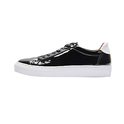 Donna Trainers, Black - secondary colour: white; predominant colour: black; occasions: casual, creative work; material: leather; heel height: flat; toe: round toe; style: trainers; finish: patent; pattern: plain; wardrobe: basic; season: a/w 2016