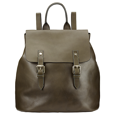 Hurst Leather Backpack, Olive - predominant colour: khaki; occasions: casual, creative work; type of pattern: standard; style: rucksack; length: rucksack; size: standard; material: leather; pattern: plain; finish: plain; wardrobe: basic; season: a/w 2016