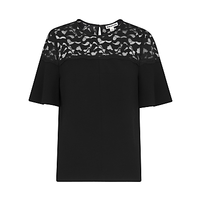 Lou Lou Lace Top, Black - pattern: plain; bust detail: sheer at bust; predominant colour: black; occasions: evening; length: standard; style: top; fibres: polyester/polyamide - 100%; fit: body skimming; neckline: crew; sleeve length: short sleeve; sleeve style: standard; texture group: crepes; pattern type: fabric; embellishment: lace; season: a/w 2016; wardrobe: event