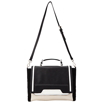 Panel Tote, Black - secondary colour: stone; predominant colour: black; occasions: casual, creative work; type of pattern: standard; style: satchel; length: across body/long; size: standard; material: faux leather; finish: plain; pattern: colourblock; season: a/w 2016