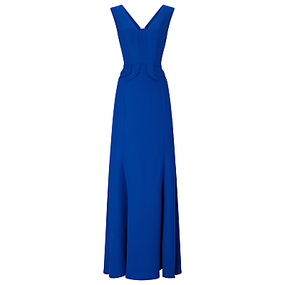 Ailsa Maxi Dress, Cobalt - neckline: low v-neck; pattern: plain; sleeve style: sleeveless; style: maxi dress; waist detail: embellishment at waist/feature waistband; predominant colour: royal blue; occasions: evening, occasion; length: floor length; fit: fitted at waist & bust; fibres: polyester/polyamide - 100%; hip detail: structured pleats at hip; sleeve length: sleeveless; texture group: crepes; pattern type: fabric; season: a/w 2016; wardrobe: event