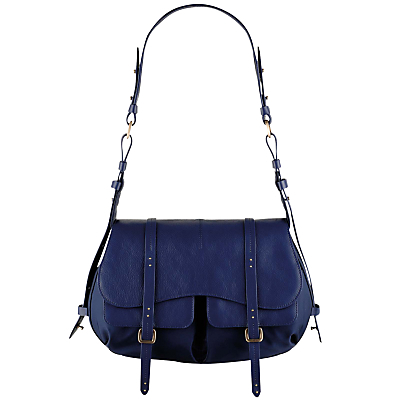 Grosvenor Medium Shoulder Bag, Navy - predominant colour: mid grey; type of pattern: standard; style: saddle; length: shoulder (tucks under arm); size: standard; material: leather; pattern: plain; finish: plain; occasions: creative work; season: a/w 2016
