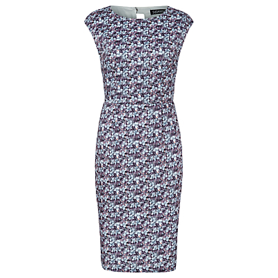 Floral Celia Shift Dress, Blue Grey - style: shift; sleeve style: capped; fit: tailored/fitted; predominant colour: pale blue; secondary colour: navy; length: just above the knee; fibres: polyester/polyamide - 100%; occasions: occasion, creative work; neckline: crew; sleeve length: sleeveless; pattern type: fabric; pattern: patterned/print; texture group: woven light midweight; multicoloured: multicoloured; season: a/w 2016; wardrobe: highlight