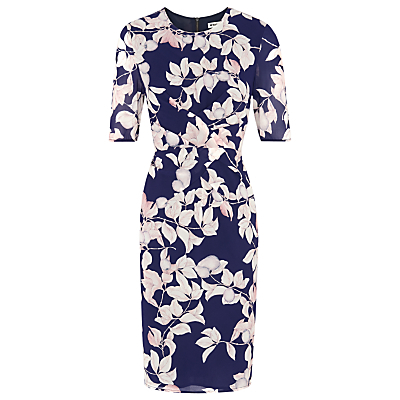Apples And Pears Bodycon Dress, Blue/Multi - style: shift; fit: tailored/fitted; secondary colour: blush; predominant colour: navy; occasions: evening, occasion; length: on the knee; fibres: polyester/polyamide - 100%; neckline: crew; sleeve length: half sleeve; sleeve style: standard; pattern type: fabric; pattern: patterned/print; texture group: woven light midweight; season: a/w 2016; wardrobe: event