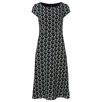 Hope Floral Midi Dress, Multi - style: shift; length: calf length; neckline: round neck; sleeve style: capped; predominant colour: navy; secondary colour: light grey; fit: body skimming; fibres: polyester/polyamide - 100%; sleeve length: short sleeve; pattern type: fabric; pattern: patterned/print; texture group: woven light midweight; occasions: creative work; multicoloured: multicoloured; season: a/w 2016; wardrobe: highlight
