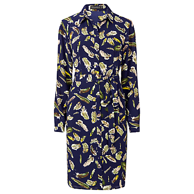 Evelina Shirt Dress, Navy/Multi - style: shirt; neckline: shirt collar/peter pan/zip with opening; fit: fitted at waist; waist detail: belted waist/tie at waist/drawstring; predominant colour: navy; secondary colour: yellow; occasions: casual, creative work; length: on the knee; fibres: polyester/polyamide - 100%; sleeve length: long sleeve; sleeve style: standard; pattern type: fabric; pattern: patterned/print; texture group: woven light midweight; multicoloured: multicoloured; season: a/w 2016; wardrobe: highlight