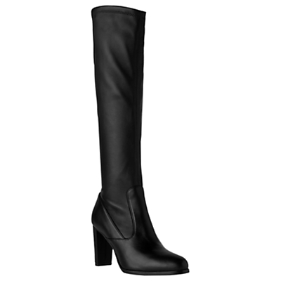 Marietta Knee High Boots, Black Leather - predominant colour: black; occasions: work, creative work; material: suede; heel: block; toe: round toe; boot length: over the knee; style: standard; finish: plain; pattern: plain; heel height: very high; season: a/w 2016; wardrobe: highlight