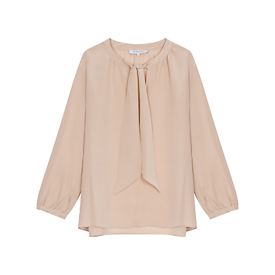 Romy Blouse, Nude - pattern: plain; neckline: pussy bow; sleeve style: balloon; style: blouse; predominant colour: nude; occasions: casual, creative work; length: standard; fibres: silk - 100%; fit: straight cut; sleeve length: long sleeve; texture group: crepes; pattern type: fabric; season: a/w 2016; wardrobe: highlight