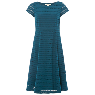 Blossom Cutwork Jersey Dress, Teal - sleeve style: capped; pattern: horizontal stripes; predominant colour: teal; occasions: evening, occasion; length: on the knee; fit: fitted at waist & bust; style: fit & flare; fibres: polyester/polyamide - stretch; neckline: crew; hip detail: soft pleats at hip/draping at hip/flared at hip; sleeve length: sleeveless; pattern type: fabric; pattern size: standard; texture group: jersey - stretchy/drapey; season: a/w 2016