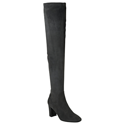 Lorde Over The Knee Boots - predominant colour: charcoal; occasions: casual, creative work; material: suede; heel height: high; heel: standard; toe: round toe; boot length: over the knee; style: standard; finish: plain; pattern: plain; wardrobe: investment; season: a/w 2016