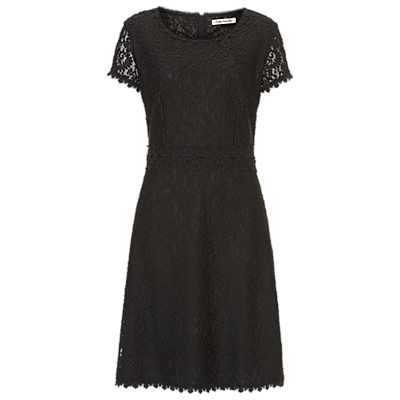 Lace Shift Dress, Black - style: shift; neckline: round neck; fit: tailored/fitted; predominant colour: black; occasions: evening, occasion; length: on the knee; fibres: polyester/polyamide - 100%; sleeve length: short sleeve; sleeve style: standard; texture group: lace; pattern type: fabric; pattern: patterned/print; season: a/w 2016; wardrobe: event