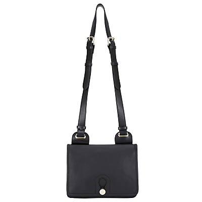 Yarley Mini Leather Across Body Bag, Black - predominant colour: black; occasions: casual, creative work; type of pattern: standard; style: saddle; length: across body/long; size: standard; material: leather; pattern: plain; finish: plain; wardrobe: basic; season: a/w 2016