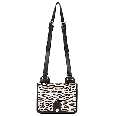 Yarley Mini Leather Across Body Bag, Leopard - predominant colour: ivory/cream; secondary colour: black; occasions: casual, creative work; type of pattern: standard; style: saddle; length: across body/long; size: standard; material: leather; pattern: animal print; finish: plain; season: a/w 2016; wardrobe: highlight
