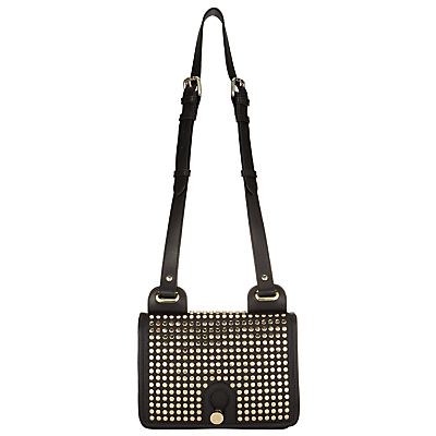 Yarley Mini Studded Leather Across Body Bag, Black - secondary colour: gold; predominant colour: black; occasions: casual, creative work; type of pattern: standard; style: satchel; length: across body/long; size: standard; material: leather; embellishment: studs; pattern: plain; finish: plain; season: a/w 2016; wardrobe: highlight
