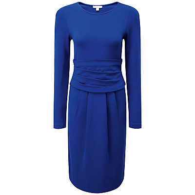 Maria Gathered Dress, Sapphire Blue - style: shift; fit: tailored/fitted; pattern: plain; waist detail: twist front waist detail/nipped in at waist on one side/soft pleats/draping/ruching/gathering waist detail; predominant colour: royal blue; occasions: evening, occasion; length: just above the knee; fibres: viscose/rayon - stretch; neckline: crew; sleeve length: long sleeve; sleeve style: standard; pattern type: fabric; texture group: other - light to midweight; season: a/w 2016