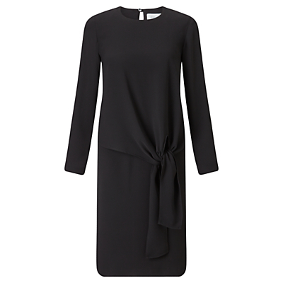 Crepe Tie Front Dress, Black - style: shift; length: mid thigh; pattern: plain; waist detail: belted waist/tie at waist/drawstring; predominant colour: black; occasions: casual, work, creative work; fit: straight cut; fibres: polyester/polyamide - 100%; neckline: crew; sleeve length: long sleeve; sleeve style: standard; texture group: crepes; pattern type: fabric; season: a/w 2016