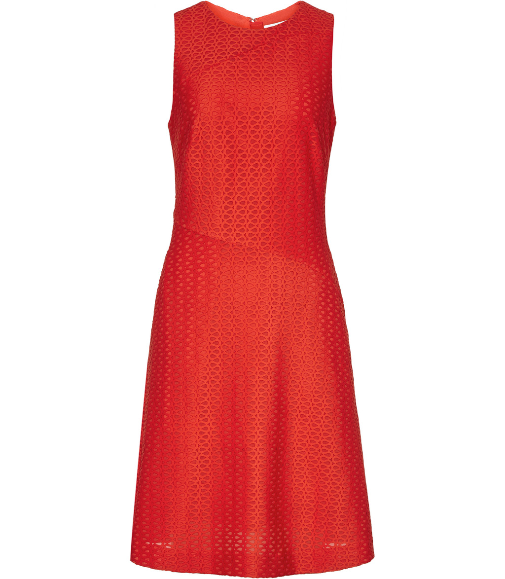 Magda Womens Textured Fit And Flare Dress In Orange - pattern: plain; sleeve style: sleeveless; predominant colour: bright orange; occasions: evening; length: just above the knee; fit: fitted at waist & bust; style: fit & flare; fibres: polyester/polyamide - stretch; neckline: crew; sleeve length: sleeveless; pattern type: fabric; texture group: jersey - stretchy/drapey; season: a/w 2016; wardrobe: event