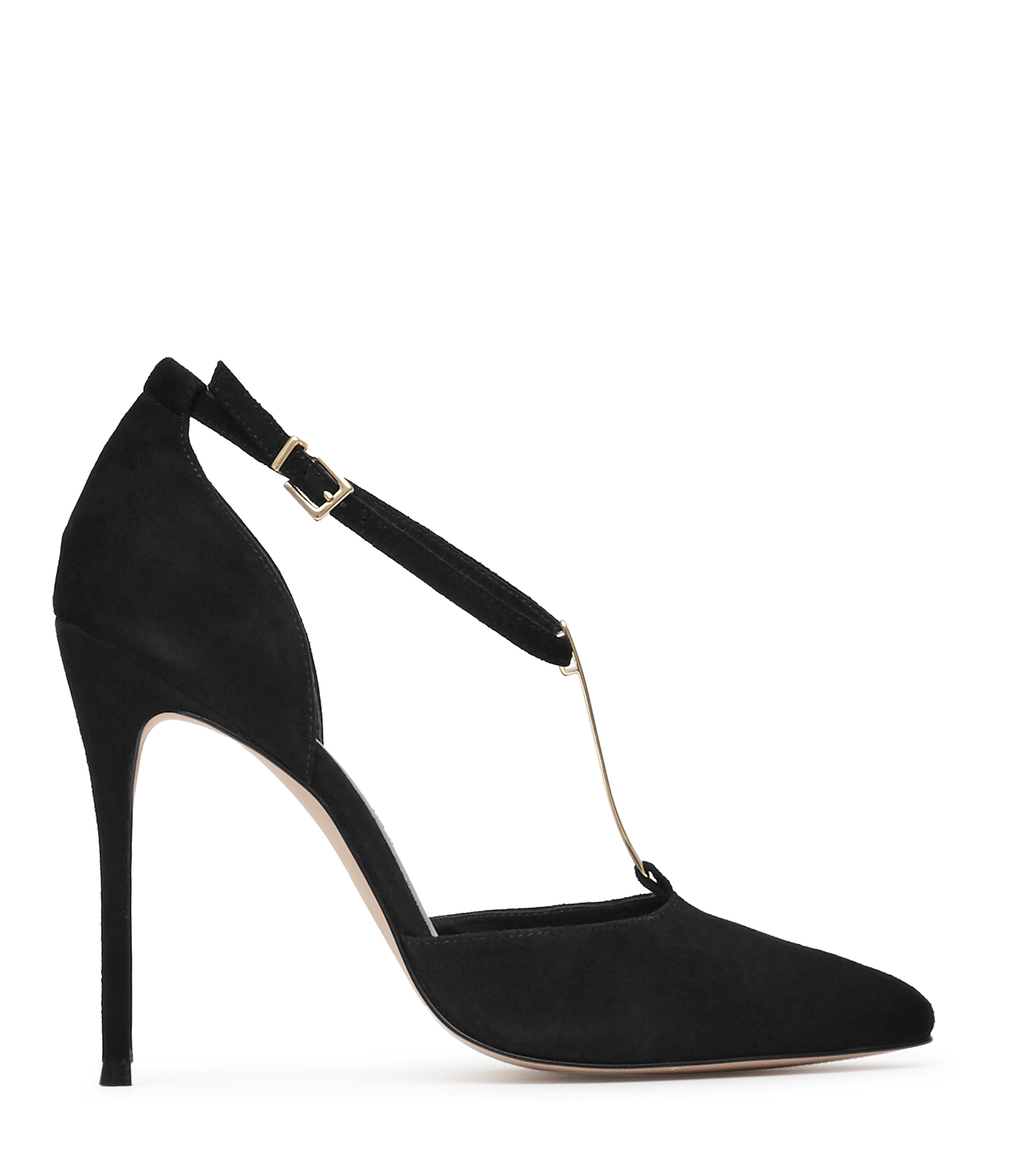Keira Womens Suede T Bar Shoes In Black - predominant colour: black; occasions: evening, occasion; material: suede; heel height: high; ankle detail: ankle strap; heel: stiletto; toe: pointed toe; style: t-bar; finish: plain; pattern: plain; season: a/w 2016