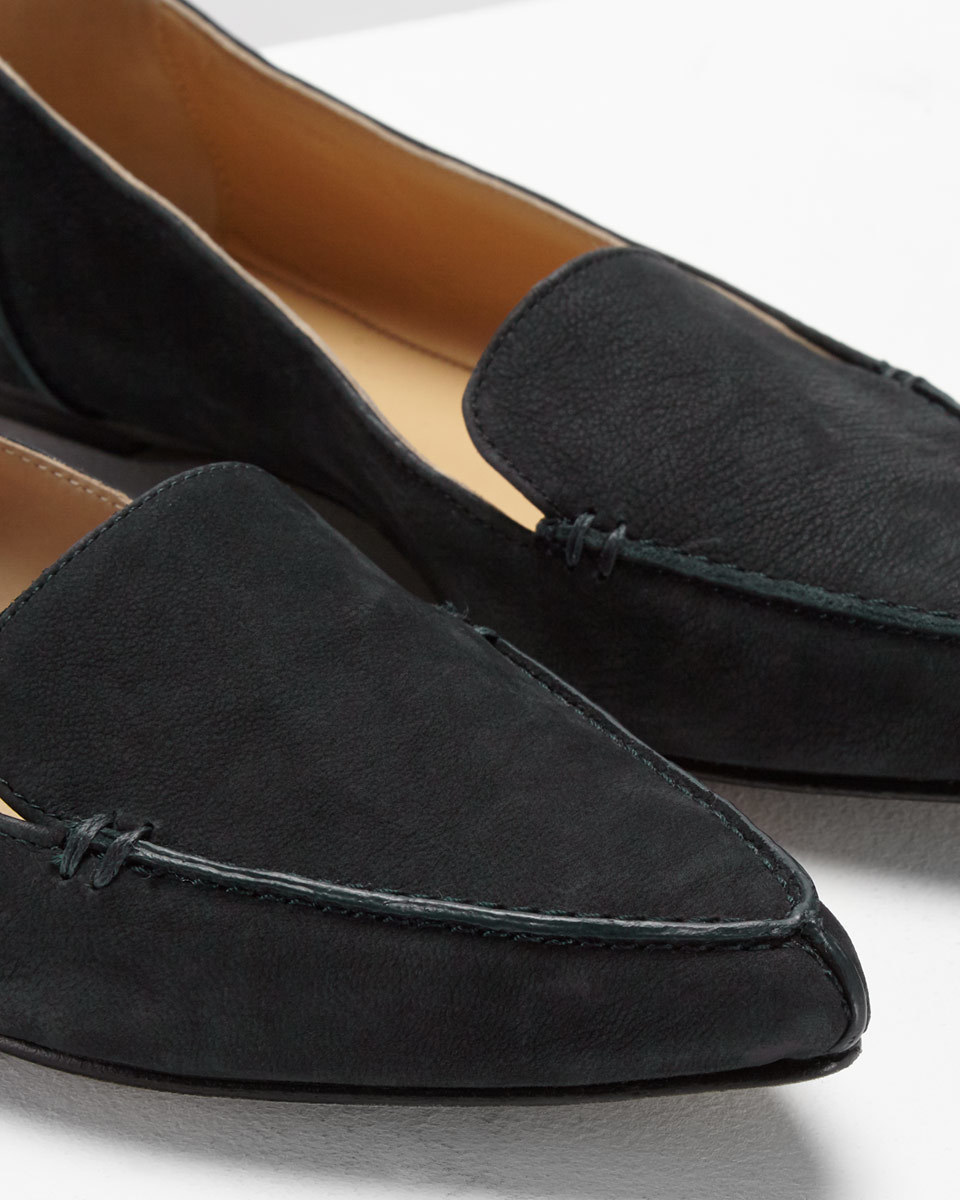Celeste Stitch Pointed Flat - predominant colour: black; occasions: casual; material: suede; heel height: flat; toe: pointed toe; style: ballerinas / pumps; finish: plain; pattern: plain; season: a/w 2016