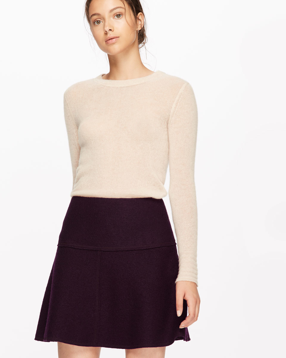 Boiled Wool Flippy Skirt - length: mid thigh; pattern: plain; fit: body skimming; waist: mid/regular rise; predominant colour: black; occasions: casual; style: fit & flare; fibres: wool - 100%; pattern type: fabric; texture group: woven light midweight; season: a/w 2016