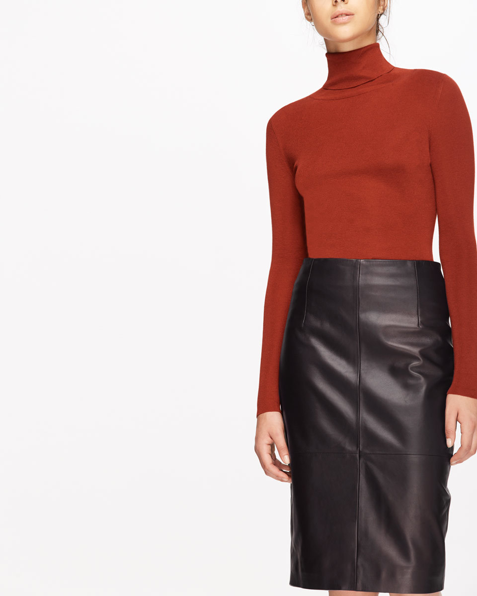 Leather High Waisted Pencil Skirt - pattern: plain; style: pencil; fit: body skimming; waist: mid/regular rise; predominant colour: black; occasions: evening; length: on the knee; fibres: leather - 100%; texture group: leather; pattern type: fabric; season: a/w 2016; wardrobe: event