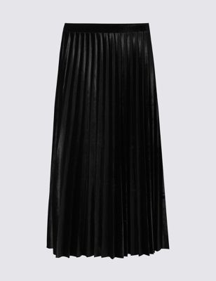 Velvet Pleated Skirt - length: below the knee; pattern: plain; fit: loose/voluminous; style: pleated; waist: mid/regular rise; predominant colour: black; fibres: polyester/polyamide - stretch; occasions: occasion, creative work; hip detail: adds bulk at the hips; pattern type: fabric; texture group: velvet/fabrics with pile; season: a/w 2016; wardrobe: highlight; trends: romantic explorer