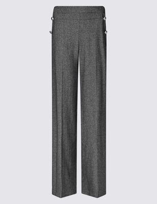 Wide Leg Trousers - length: standard; pattern: herringbone/tweed; waist: mid/regular rise; predominant colour: charcoal; occasions: work; fibres: wool - mix; fit: wide leg; pattern type: fabric; texture group: tweed - light/midweight; style: standard; pattern size: light/subtle (bottom); season: a/w 2016