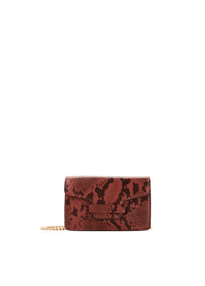 Chain Bag - predominant colour: tan; secondary colour: black; occasions: evening; type of pattern: light; style: clutch; length: hand carry; size: small; material: faux leather; pattern: animal print; finish: plain; season: a/w 2016; wardrobe: event