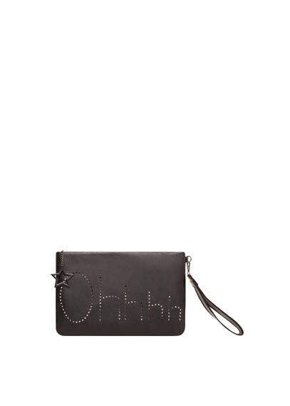 Engraved Message Clutch - predominant colour: black; occasions: casual, creative work; type of pattern: standard; style: grab bag; length: hand carry; size: small; material: faux leather; pattern: plain; finish: plain; wardrobe: investment; season: a/w 2016