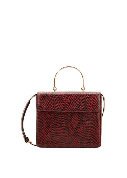 Snake Effect Bag - predominant colour: burgundy; occasions: casual; type of pattern: light; style: tote; length: across body/long; size: small; material: faux leather; pattern: animal print; finish: plain; season: a/w 2016; wardrobe: highlight