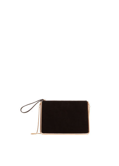 Zipped Leather Clutch - predominant colour: black; occasions: evening; type of pattern: standard; style: grab bag; length: hand carry; size: small; material: leather; pattern: plain; finish: plain; season: a/w 2016; wardrobe: event