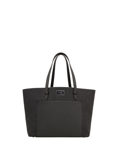 Contrasting Bag - predominant colour: black; occasions: casual; type of pattern: standard; style: tote; length: shoulder (tucks under arm); size: standard; material: faux leather; pattern: plain; finish: plain; wardrobe: investment; season: a/w 2016