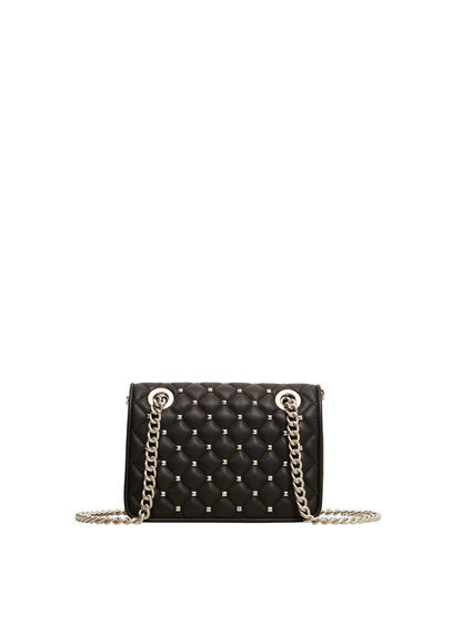 Stud Cross Body Bag - predominant colour: black; occasions: casual; type of pattern: standard; style: messenger; length: across body/long; size: standard; material: faux leather; embellishment: studs; pattern: plain; finish: plain; season: a/w 2016; wardrobe: highlight