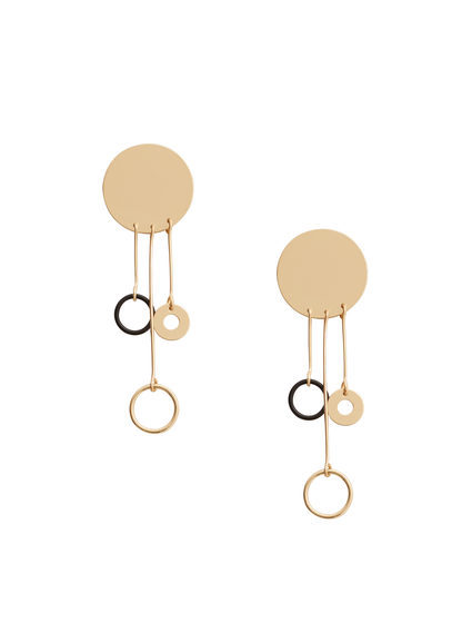 Metal Earrings - predominant colour: gold; occasions: evening, occasion, creative work; style: drop; length: mid; size: standard; material: chain/metal; fastening: pierced; finish: plain; season: a/w 2016; wardrobe: highlight