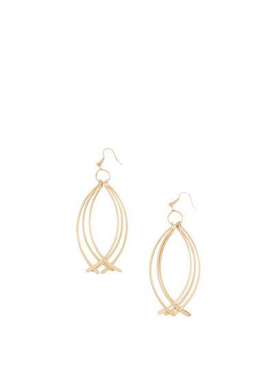 Metal Pendant Earrings - predominant colour: gold; occasions: evening; style: drop; length: long; size: large/oversized; material: chain/metal; fastening: pierced; finish: metallic; season: a/w 2016; wardrobe: event