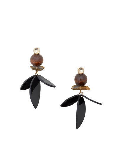Mixed Pieces Earrings - predominant colour: black; occasions: casual, creative work; style: drop; length: long; size: standard; material: chain/metal; fastening: pierced; finish: metallic; embellishment: jewels/stone; season: a/w 2016; wardrobe: highlight