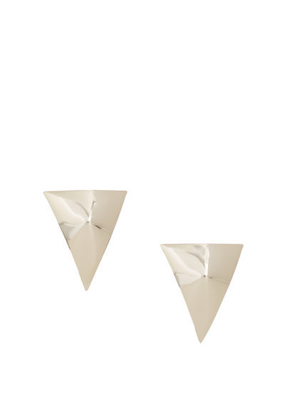 Embossed Triangular Earrings - predominant colour: silver; occasions: casual; style: drop; length: short; size: standard; material: chain/metal; fastening: pierced; finish: metallic; season: a/w 2016; wardrobe: highlight