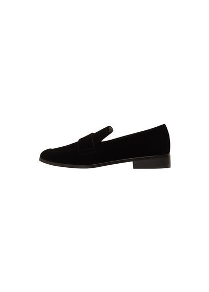 Velvet Loafers - predominant colour: black; occasions: casual, creative work; material: velvet; heel height: flat; toe: round toe; style: loafers; finish: plain; pattern: plain; wardrobe: basic; season: a/w 2016