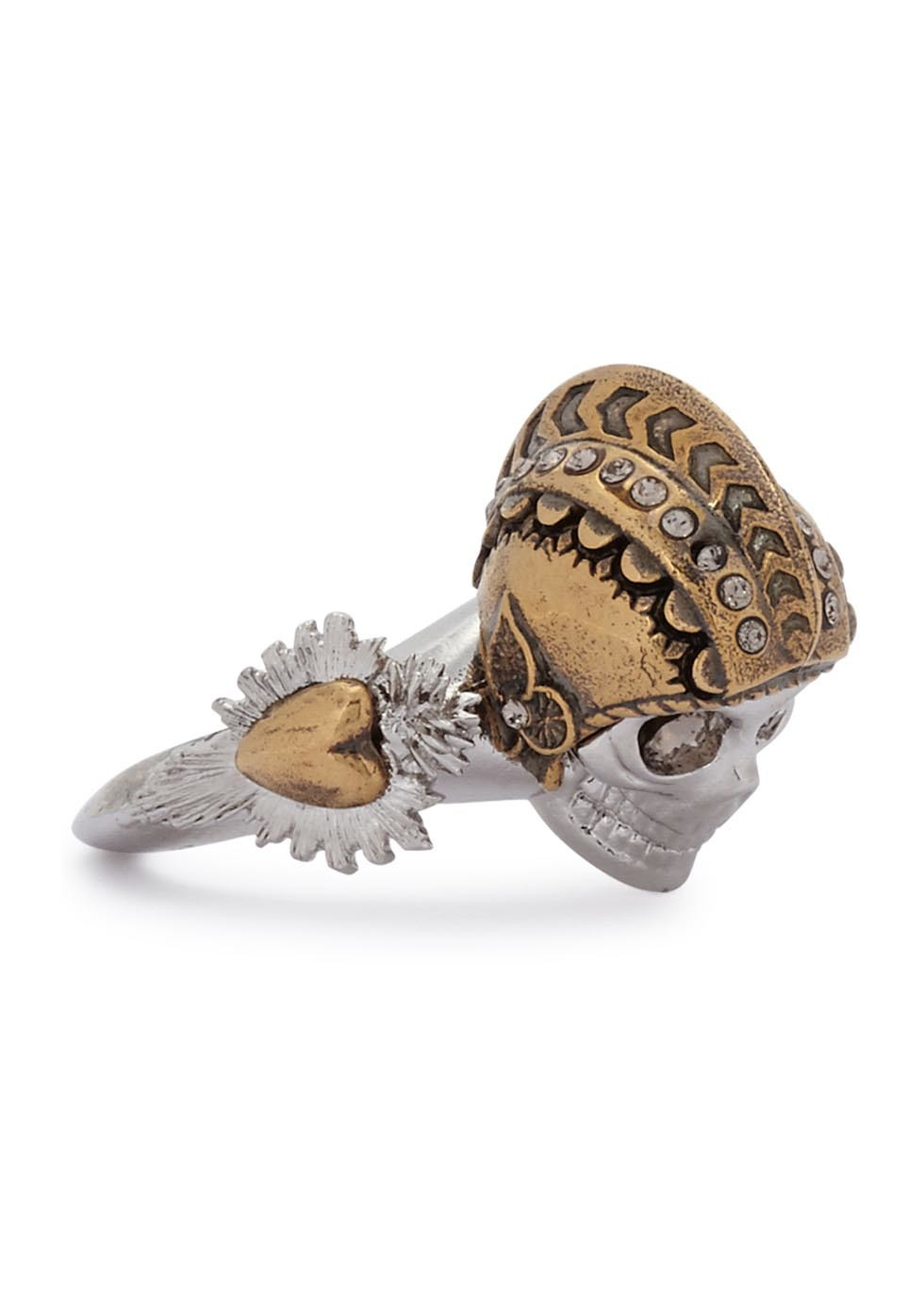 Armour Skull Silver Tone Ring - predominant colour: silver; secondary colour: gold; occasions: evening; style: cocktail; size: large/oversized; material: chain/metal; finish: plain; embellishment: crystals/glass; season: a/w 2016; wardrobe: event