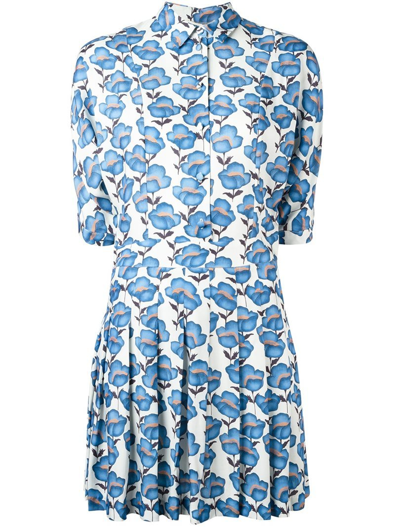 Floral Print Shirt Dress, Women's, Blue - style: shirt; length: mid thigh; neckline: shirt collar/peter pan/zip with opening; predominant colour: white; secondary colour: diva blue; occasions: casual; fit: fitted at waist & bust; fibres: viscose/rayon - 100%; hip detail: sculpting darts/pleats/seams at hip; sleeve length: half sleeve; sleeve style: standard; pattern type: fabric; pattern size: big & busy; pattern: florals; texture group: jersey - stretchy/drapey; multicoloured: multicoloured; season: a/w 2016