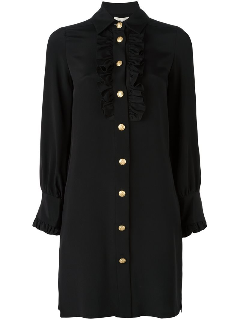 Plain Shirt Dress, Women's, Black - style: shirt; neckline: shirt collar/peter pan/zip with opening; pattern: plain; predominant colour: black; occasions: evening; length: just above the knee; fit: body skimming; fibres: silk - 100%; sleeve length: long sleeve; sleeve style: standard; texture group: cotton feel fabrics; bust detail: tiers/frills/bulky drapes/pleats; pattern type: fabric; season: a/w 2016; wardrobe: event