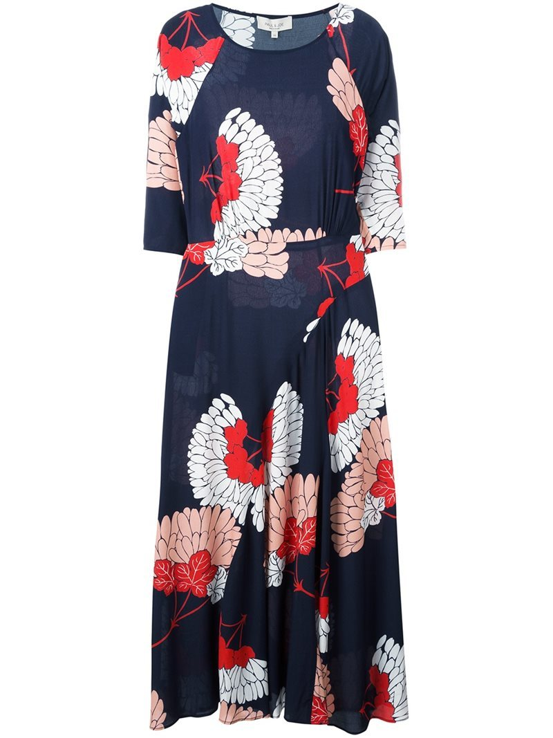 'eprieure' Dress, Women's - neckline: round neck; style: maxi dress; length: ankle length; secondary colour: white; predominant colour: navy; occasions: casual; fit: body skimming; fibres: viscose/rayon - 100%; sleeve length: half sleeve; sleeve style: standard; pattern type: fabric; pattern size: big & busy; pattern: florals; texture group: jersey - stretchy/drapey; multicoloured: multicoloured; season: a/w 2016