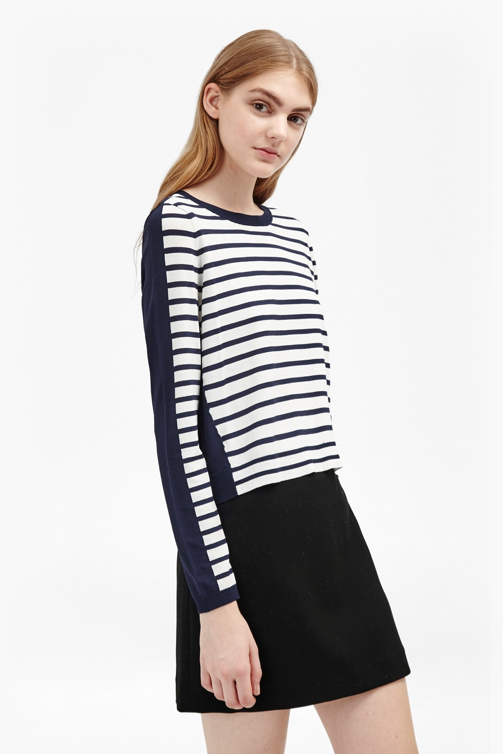 Cass Knits Stripe Jumper Nocturnal/Winter White - pattern: horizontal stripes; style: standard; predominant colour: white; secondary colour: black; occasions: casual; length: standard; fit: standard fit; neckline: crew; sleeve length: long sleeve; sleeve style: standard; texture group: knits/crochet; pattern type: fabric; fibres: viscose/rayon - mix; season: a/w 2016; wardrobe: highlight