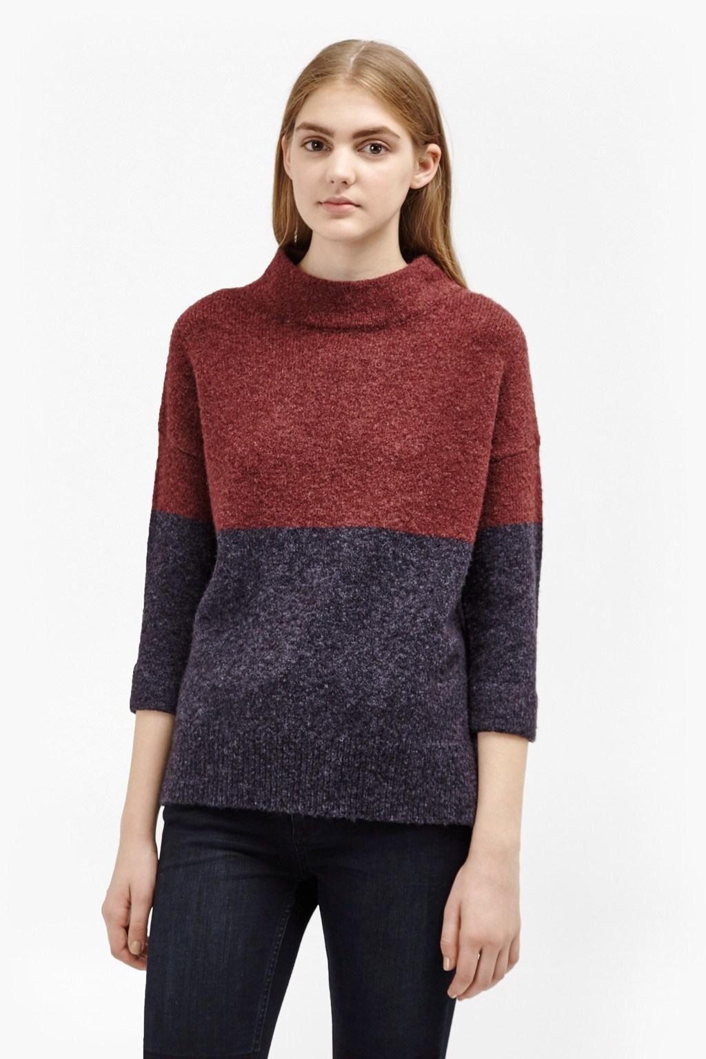Rsvp Colour Block Knit Jumper Nocturnal/Winter Wine - neckline: high neck; style: standard; predominant colour: navy; secondary colour: navy; occasions: casual; length: standard; fibres: wool - mix; fit: standard fit; sleeve length: 3/4 length; sleeve style: standard; texture group: knits/crochet; pattern type: fabric; pattern: colourblock; season: a/w 2016; wardrobe: highlight