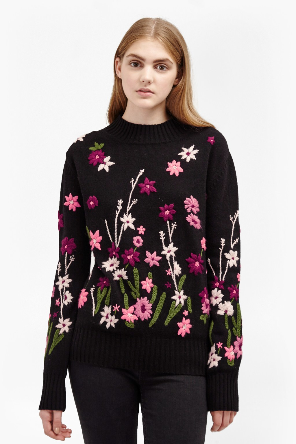 Floral Garden Embroidered Jumper Black Multi - neckline: high neck; style: standard; secondary colour: pink; predominant colour: black; occasions: casual; length: standard; fibres: wool - 100%; fit: standard fit; sleeve length: long sleeve; sleeve style: standard; texture group: knits/crochet; pattern type: fabric; pattern: patterned/print; multicoloured: multicoloured; season: a/w 2016