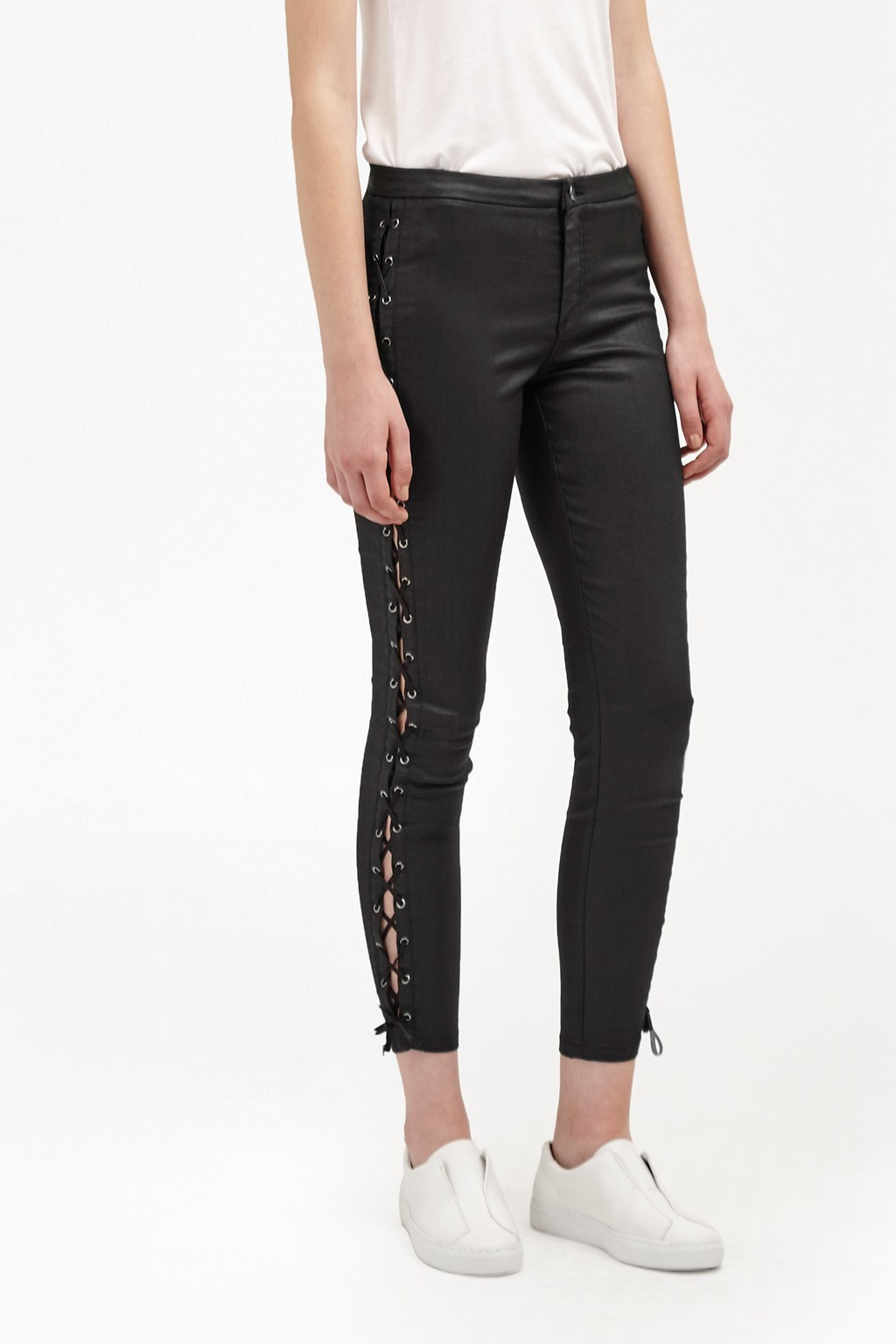 Resin Biker Lace Up Skinny Jeans Black - style: skinny leg; pattern: plain; waist: high rise; predominant colour: black; occasions: casual, evening, creative work; length: ankle length; fibres: cotton - stretch; texture group: leather; pattern type: fabric; season: a/w 2016