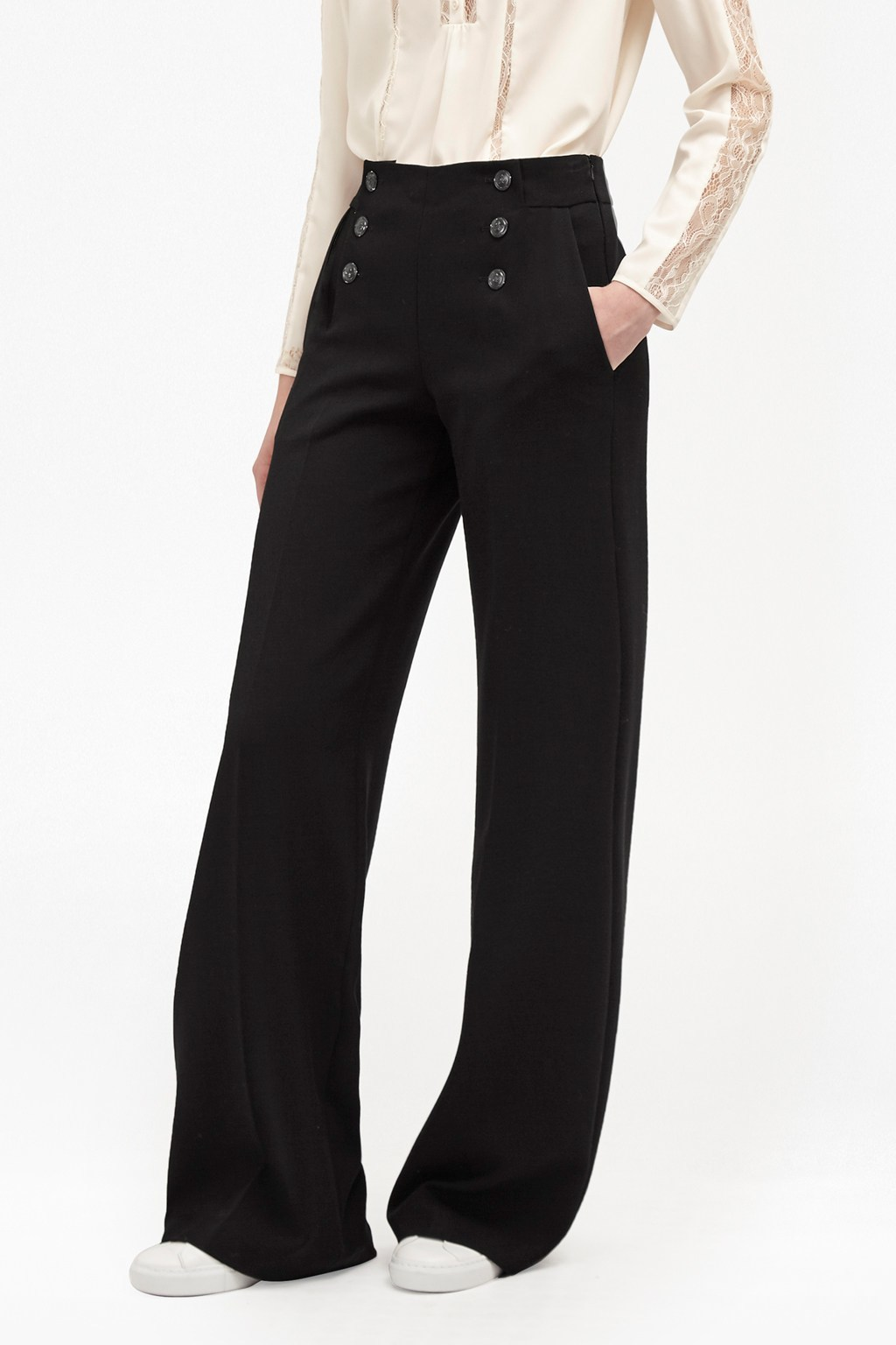 Sundae Suiting Sailor Trousers Dark Grey Melange - length: standard; pattern: plain; waist: mid/regular rise; predominant colour: charcoal; occasions: evening; fibres: polyester/polyamide - stretch; texture group: crepes; fit: wide leg; pattern type: fabric; style: standard; season: a/w 2016